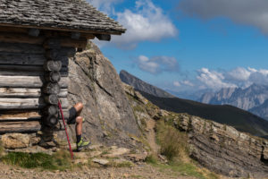 Switzerland, Canton Bern, Bernese Oberland, Grindelwald, First, hikers taking a rest at a hut