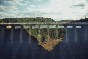 Titan RT, one of the world's longest suspension bridges for pedestrians, Rappbode Dam, Harz Mountains