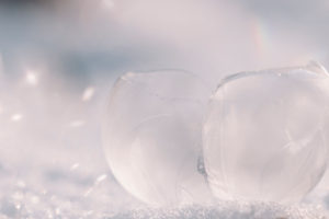 Ice balls in the snow, close-up