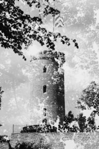Sparrenberg castle in Bielefeld, double exposure