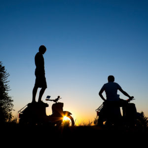 Silhouette, moped, persons