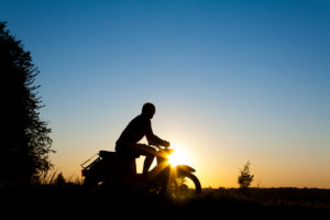 Silhouette, Moped, Person