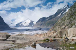 Aletsch glacier, mountain lake