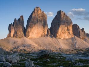 Abend an den Drei Zinnen, Naturpark Sextener Dolomiten, Italien