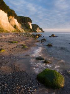 The first light on the chalk coast on Rügen, national park Jasmund, Mecklenburg-West Pomerania, Germany