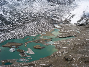 View of the Kaiser-Franz-Josefs-Höhe on Pasterze and glacier lake, national park Hohe Tauern, Austria