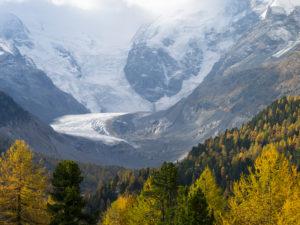 Morteratsch glacier in autumn, Graubünden, Switzerland