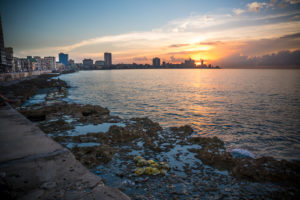 Sundown at the Malecon, view at Havana, deserted