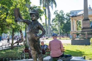 Fountain in Santa Clara, a landmark of the town 'Nino de la bota', Cuba