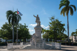 José Martí Monument with Cuban flag in Cienfuegos