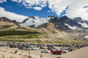 Parking lot glacier Rocky Mountains, Columbia Icefield, Canada