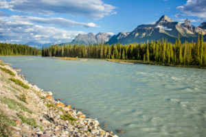 Rocky Mountains, river with mountains, Canada