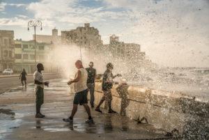 Anglers at the Malecon Havana, splashing surf, drops of water, Cuba