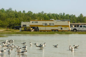 Lake with gulls and camper, Canada