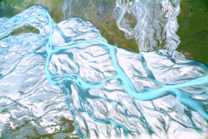 Abstract aerial view of a river bed in New Zeland, Franz josef glacia