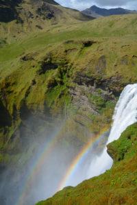 Rainbow over the Waterfalls Seljalandsfoss, Iceland