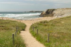 Beach on the coast of Cote Sauvage, Quiberon Peninsula, Departement Morbihan, Atlantic, Brittany, France