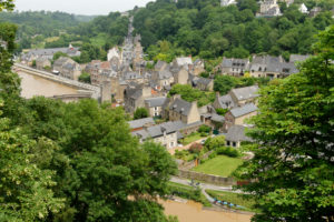 View from the upper town to the Rance valley with the harbour district, Dinan, Departement Cotes d'Armor, Brittany, France