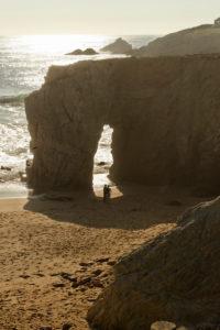 Rock arch at Port Blanc on the Cote Sauvage, Quiberon Peninsula, Departement Morbihan, Atlantic, Brittany, France
