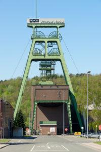 View of the winding tower of the coal mine Prosper- Haniel, Bottrop, North Rhine-Westphalia, Germany