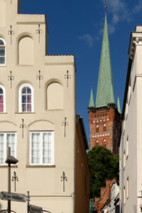 View of the Petrikirche in the old town of Lübeck, UNESCO World Heritage, Lübeck, Schleswig-Holstein, Germany
