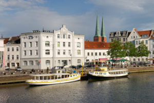 City trave with old town and towers of the cathedral, Lübeck, UNESCO World Heritage, Schleswig-Holstein, Germany