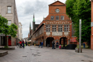 View from Breite Strasse on the town hall in the old town of Lübeck, UNESCO World Heritage, Lübeck, Schleswig-Holstein, Germany