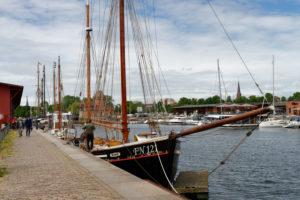 View of the Holstenhafen, Lübeck, Schleswig-Holstein, Germany