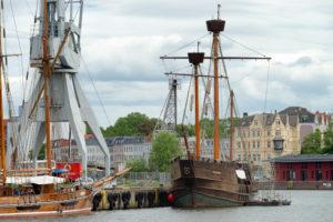 Museum harbor to Lübeck with a view of the three-master Lisa von Lübeck, Lübeck, Schleswig-Holstein, Germany