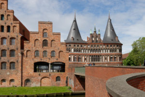 Historic salt store and Holsten Gate in the old town of Luebeck, UNESCO World Heritage, Luebeck, Schleswig-Holstein, Germany