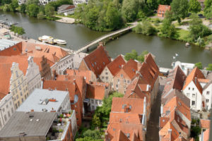 View of the old town with town houses and Stadt-Trave in Lübeck, UNESCO World Heritage, Lübeck, Schleswig-Holstein, Germany