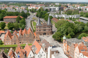 View of the old town with the Holsten Gate and the historic salt store in Lübeck, UNESCO World Heritage, Lübeck, Schleswig-Holstein, Germany