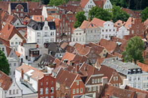 View of the old town with town houses in Lübeck, UNESCO World Heritage, Lübeck, Schleswig-Holstein, Germany