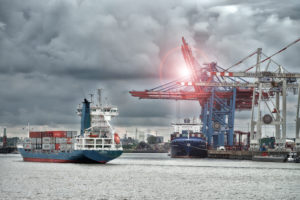 Container ships at the Tollerort container terminal in the port of Hamburg, Hamburg, Elbe, Hanseatic City, Germany, software based changed