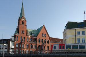 Elevated Railway at Johannisbollwerk and Swedish Gustav- Adolfs- Church at the Port of Hamburg, Hamburg, Elbe, Hanseatic City, Germany