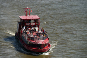 Excursion boat on the Norderelbe in the Port of Hamburg, Hamburg, Elbe, Hanseatic City, Port of Hamburg, Germany