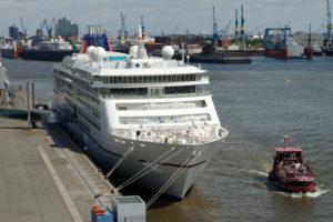 "View from Dockland to the Altona cruise terminal with the cruise ship ""Europa 2"" in Hamburg, Altona, Hamburg, Elbe, Port of Hamburg, Hanseatic City, Germany"