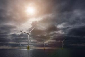 3d, CGI, [M], symbol, energy, wind park, eco-power, wind turbine, sea