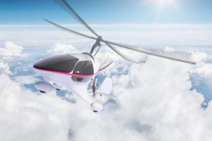 Gyrocopter, air, clouds, horizon