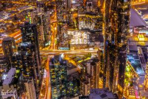 Australien, Melbourne, Stadtübersicht bei Nacht