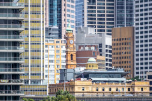 Australia, Sydney Harbor, skyline with skyscrapers and old building