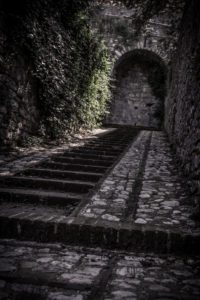 Stairs in Spello, province of Perugia, Umbria, Italy