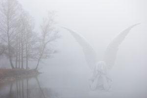 Mysticism, angels at the lake, CGI