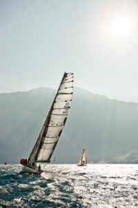 The Stravaganza shortly after the start of the regatta Centomiglia 2012, Lake Garda, Italy,