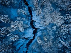 Die Walchen am Sylvensteinsee im Winter