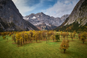 View of Riss Valley near Eng Alpine Village and Pastures, Tyrol, Austria