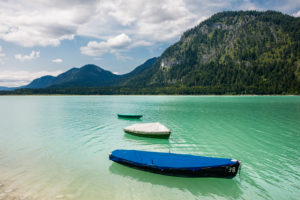 Fishing Boats on Sylvenstein Reservoir, Bavaria, Germany, 2016