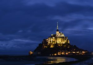 France, Lower Normandy, Manche, Mont Saint Michel by night,