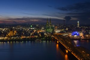 Germany, North Rhine-Westphalia, view of Cologne at night,