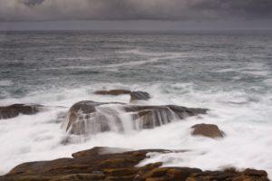 France, Brittany, Côtes-d'Armor, Côte de Granite Rose, Ploumanac'h, granite rock in the surge